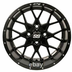 (1) GTW 14x7 Matte Black Vortex Golf Cart Wheel 34 Offset