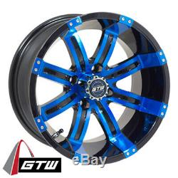 (1) Golf Cart GTW Tempest 14 inch Blue and Black Wheel With 34 Offset