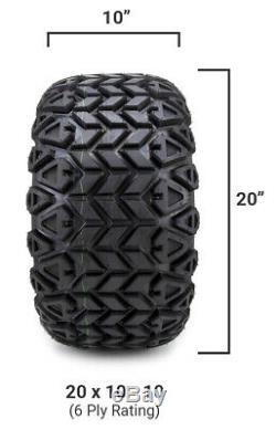 10 Black 8 Window Steel Golf Cart Wheels & Tires (20x10-10) Set of 4