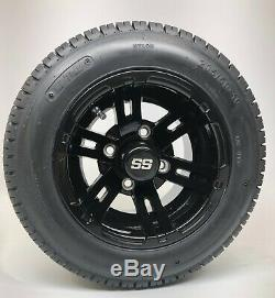10 Golf Cart Black Bulldog Wheels with 205/50-10 DOT Low Profile Tires Set of 4