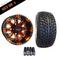 10 Vegas Orange/black Wheels And 205/50-10 Dot Street Tires Combo Set Of 4