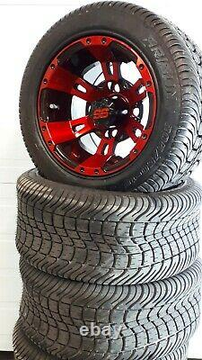 10'' golf cart wheel and DOT tire assembly, Fit all golf cart RED & BLACK