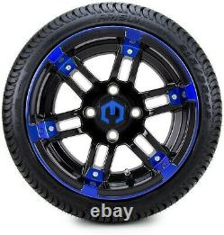 12 Aftershock Blue and Black Golf Cart Wheels and Tires (215-35-12) Set of 4