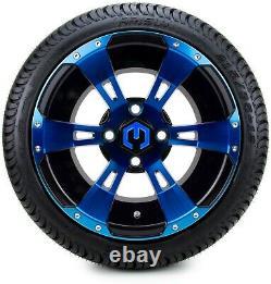 12 Ambush Blue and Black Golf Cart Wheels and Tires (215-35-12) Set of 4