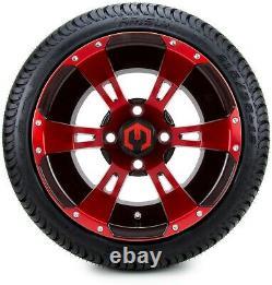 12 Ambush Red and Black Golf Cart Wheels and Tires (215-35-12) Set of 4