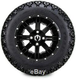 12 Assault Black and Ball Mill Golf Cart Wheels and Tires 23x10.50-12 Set of 4
