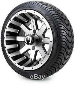 12 Assault Machined and Black Golf Cart Wheels and Tires (215-35-12) Set of 4