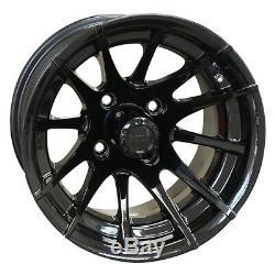 12 Black Venom Golf Cart Wheels And 215/35-12 Dot Street Tires Set Of 4