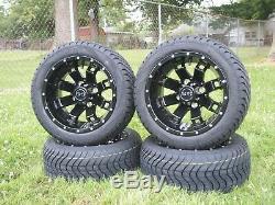 12 Inch Black Spider Wheels 215/40-12 Tires Dot Ezgo Club Car Yamaha