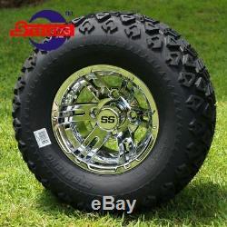 12 Machined/Black VAMPIRE Golf Cart Wheels & 215X40 Low Pro Tires Full Set
