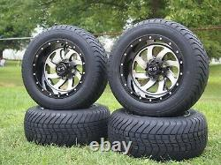 12 Machined and Black Phantom Golf Cart Wheels and Tires (215-50-12) Set of 4