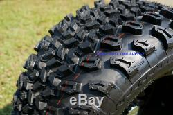 12 TEMPEST MACHINED/ BLACK WHEELS & 23x10.5-12 ALL TERRAIN TIRES SET OF 4