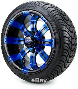 12 Tempest Blue and Black Golf Cart Wheels and Tires (215-35-12) Set of 4