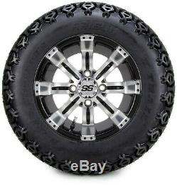 12 Tempest Machined and Black Golf Cart Wheels and Tires (23x10.50-12) Set of 4