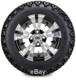 12 Vampire Machined & Black Golf Cart Wheels and Tires (23x10.50-12) Set of 4