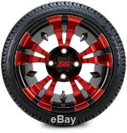 12 Vampire Red and Black Golf Cart Wheels and Tires (215-35-12) Set of 4