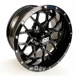 12 Vortex Gloss Black Wheels and X-Trail Tires + GTW Quality Golf Cart Lift Kit