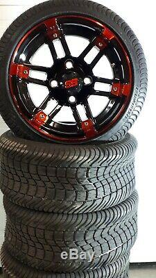 12'' golf cart wheel and DOT tire assembly, Fit all golf cart RED & BLACK