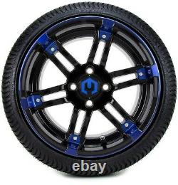 14 Aftershock Blue and Black Golf Cart Wheels and Tires (205-30-14) Set of 4