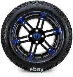 14 Aftershock Blue and Black Golf Cart Wheels and Tires 23x10.00-14 Set of 4