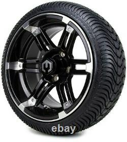 14 Aftershock Machined & Black Golf Cart Wheels and Tires (205-30-14) Set of 4