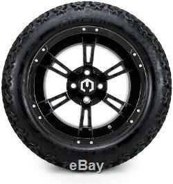 14 Ambush Glossy Black Golf Cart Wheels and Tires (23x10.00-14) Set of 4