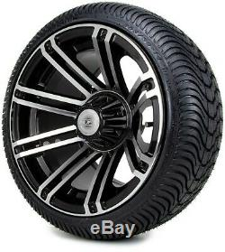 14 Avenger Machined & Black Golf Cart Wheels and Tires (205-30-14) Set of 4