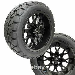 14 Chaos Glossy Black Wheels 22 Overkill A. T. Tires Lifted Golf Carts ProFormX