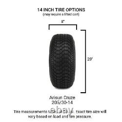 14 GTW Raven Black Ball Mill Golf Cart Wheels and Tires (205-30-14) Set of 4