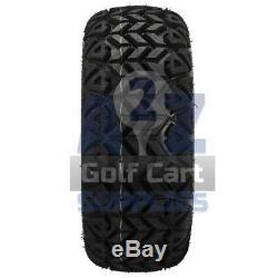 14 Golf Cart Black/Red Casino Wheels & 23X10 All-Terrain Tires Set(4)