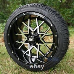 14 Itp Hurricane Machined/black Golf Cart Wheels & 205/30-14 Dot Street Tires