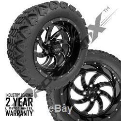 14 Phantom Glossy Black Wheels on 23 Wanda A. T. Tires Lifted Golf Carts Set