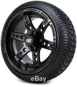 14 Reef Matte Black Golf Cart Wheels and Tires (205-30-14) Set of 4