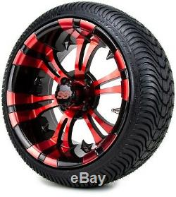 14 Vampire Red and Black Golf Cart Wheels and Tires (205-30-14) Set of 4