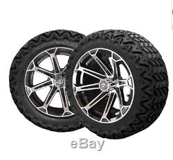 14 Vortex Mach & Black Wheels 23 Predator All Terrain Tires Golf Cart Lifted