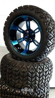 14'' golf cart wheel and DOT tire assembly, BLUE & BLACK Storm trooper