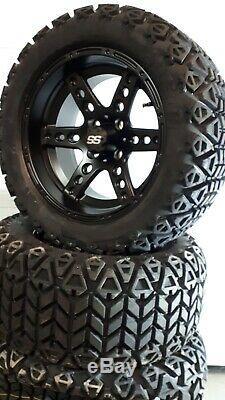 14'' golf cart wheel and DOT tire assembly, Dominator Matte Black
