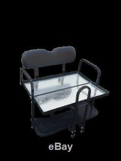 1986-2000 Club Car Ds Black Folding Rear Golf Cart Seat Free Uprights