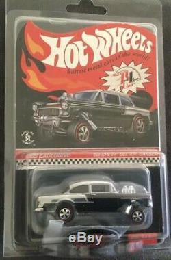 2016 Hot Wheels RLC 55 Chevy Bel Air Gasser CLUB CARS Chrome Black Red Blue SET