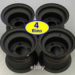 4 Golf Cart RIMs WHEELs 8x7 4/4 Flat Black Zero Offset for 18x8.50-8 tire size