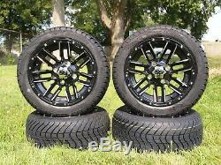 4x Golf Cart 12 inch Black Wheels 215/40-12 Street Tire DOT EZGO Club Car Yamaha