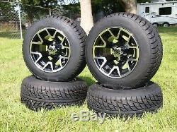 4x Golf Cart 205/50-10 Tire With 10 Black/Machined Wheel EZGO Club Car Yamaha