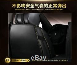 5-Seat Deluxe PU Leather &Ice Silk Black with Red Front+Rear Car Seat Covers Mat