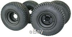 8 Matte Black Steel Golf Cart Wheels With 18x8.50-8 Turf 4 Ply Tires -set Of 4