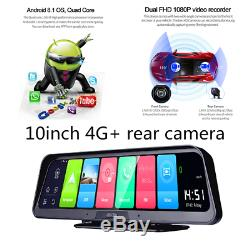 Android 8.1 Car DVR 10 inch Dual Lens Dash Cam Video Recorder Camera 4G WiFi GPS