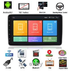 Android 9.0 1DIN Quad Core 10.1in Car Bluetooth HD Multimedia Player GPS WIFI