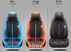 Black & Blue Microfiber Leather Car Seat Cover Full Set Seat Cushion Protector