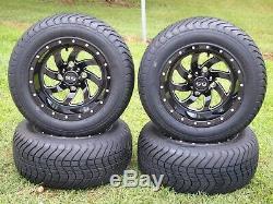 Black Deep Dish 12 Golf Cart Wheels 215 50 12 Tires Set EZGO CLUB CAR YAMAHA