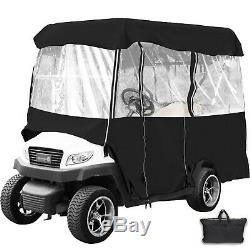 Black Rain Cover Enclosure for 4 Golf Cart W Back Seat Extended Roof ClubCar