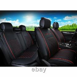 Car Auto SUV Seat Cover Cushion 5-Seats Front + Rear PU Leather withPillows Size M